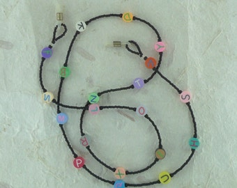 SALE: Colorful ALPHABET Letters Teacher Fimo Polymer Clay and Glass Beads Eyeglass Chain