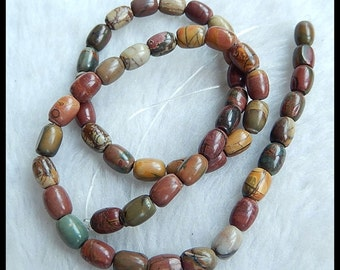 Multi-Color Picasso Jasper Loose Bead,1Strand,41cm In the Lenght,8x6mm,25g