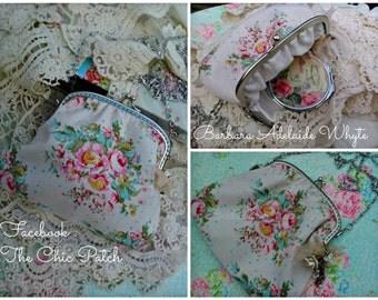 shabby chic clutch bag, handbag, large clutch purse, small bag, evening bag, hip bag, messenger bag make up bag, cosmetic bag