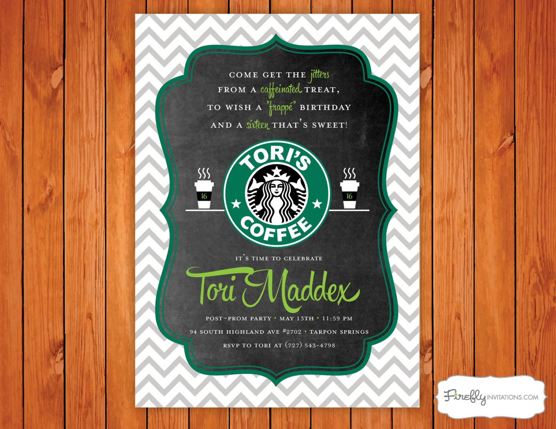 Starbucks Coffee Birthday Party Invitation