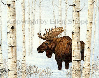 Print, MOOSE, aspen trees, Moose decor, giclee print, small prints, bull moose, cabin decor, lodge decor, Ellen Strope, rustic decor