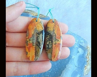New,Multi-Color Picasso Jasper Earring Bead,42x17x5mm,13.7g