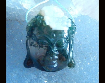 Carved Moss Agate Buddha Head Pendant Bead,30x24x12mm,13.49g