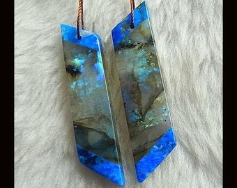 New,Lapis Lazuli,Labradorite Intarsia Earring Bead,47x11x4mm,9.6g