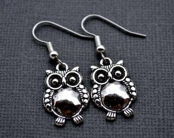 Silver Owls . Earrings