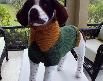 "Xmas Gift SALE Dog Sweater Hand Knit  Green and Gold 21"" long"