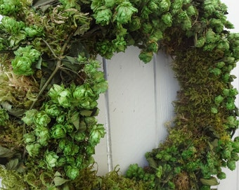 Preserved  Hops Wreath  Saint Patricks Day Wreath    Moss Wreath  Natural Wreath  Green Wreath  Home Decor  Door Wreath