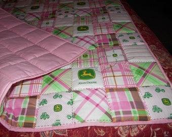 Handmade Toddler Quilt- Pink John Deere  Baby Toddler Bed / Crib Size  Quilt Comforter  36 x 52