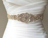Gold Crystal Bridal Sash. Rhinestone Beaded Applique Wedding Belt. Silver Bridal Belt. JEWEL CRYSTAL GOLD