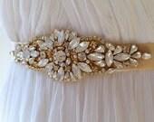 Gold Opal Crystal Bridal Sash. Rhinestone Applique Wedding Belt. Gold Art Deco Wedding Sash.  DAISY