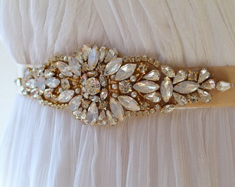 Gold Opal Crystal Bridal Sash. Rhinestone Pearl Applique Wedding Belt. Gold Art Deco Wedding Sash.  DAISY