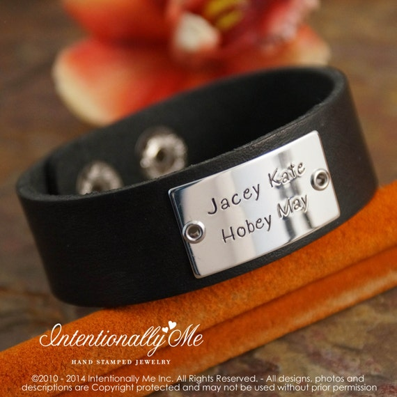 Personalized Hand Stamped Men Bracelet - Sterling Silver - Leather Brown Cuff  with kids name
