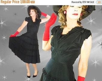ON SALE 1940s Black Dress - 40s Taffeta Formal - Big Skirt Cocktail Party Dress