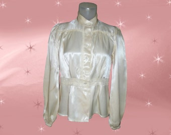 Vintage Satin Blouse for Cosplay Costume - 70s Blouse - AS IS