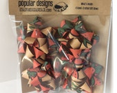Christmas gift bows 4 paper bag / red and green / repurposed paper /  recycled gift bow / Kraft paper bow