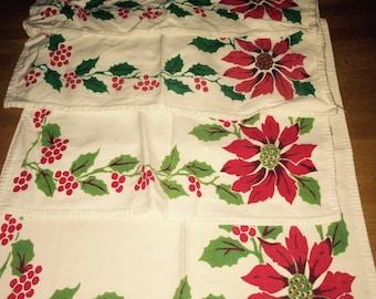 Awesome 1950s Christmas poinsettia napkins cotton