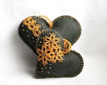 Heart Charcoal Grey Saffron Felt Tatting Lace Lavender Sachets