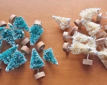 10 Miniature Bottle Brush Trees, Sisal, Vintage Style Miniatures, 1.5 inch Mini Trees