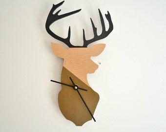 Wall Clock,Wood Deer Head Clock,Wall Hanging,Painted Clock,Anthropology