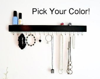 Jewelry Organizer Wall -Jewelry Holder - Jewelry Hanging - Wood - Pick your color