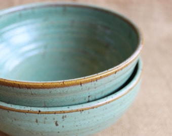 Set of 2 large stacking pottery bowls, rustic, stoneware, wheel thrown, ready to ship