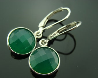 Bezel Set Green Onyx 925 Sterling Silver Leverback Earrings