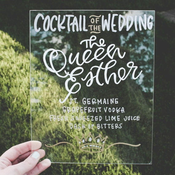 cocktail wedding acrylic sign