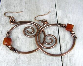 Antiqued Copper Hoop Earrings, Copper Wire Wrap Hoop Earrings With Square Faceted Carnelian Gemstones