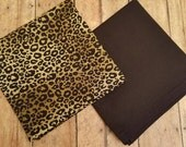 Two Pocket Squares Handkerchiefs Leopard Animal Print and Black Men Women Ladies