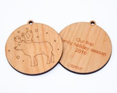 personalized christmas ornament // reindeer decoration // wooden ornament // holiday decoration