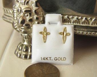 14K Gold diamond cut cross stud Earrings, SALE