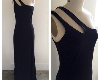 90's sz S 6 Formal Long Black Dress Andrea Polizxi for Rex Lester