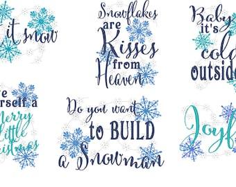 Merry Christmas Snow Quotes   Machine Embroidery Designs   5x7 INSTANT  DOWNLOAD