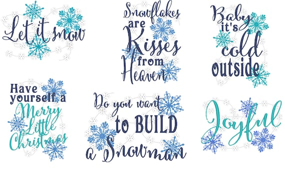 Merry Christmas Snow Quotes Machine Embroidery Designs