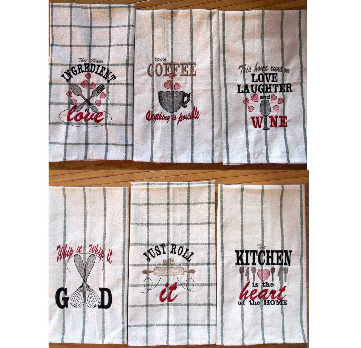 Discount 40% Kitchen quotes Pack price 6 towel embroidery