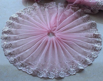 2 Yards Lace Trim Roses Embroidered Peachy Pink Tulle Lace 9 Inches Wide High Quality