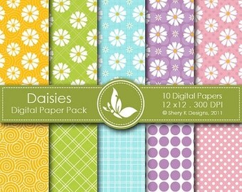 50% Off Daisies Paper Pack - 10 Digital papers - 12 x12 - 300 DPI