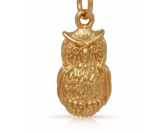 Owl Charm 24Kt Gold Plated Sterling Silver 15x8mm With Soldered Jump ring - 1pc 20% discounted (4334)/1