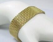 """End Summer Sale Vintage Gold Tone Mesh Link Bracelet by ART 7"""" Long"""