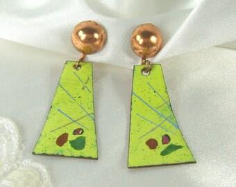 Vintage Earrings Copper Green Spatter Enamel Dangle Modernist Screw On Screwback