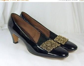 "End Summer Sale Vintage Brown Patent Leather Size 8 1/2 AA Narrow Heels 2 1/2"" Gold Tone Fancy Buckle Shoe Clip Designer Originals Jacquelin"