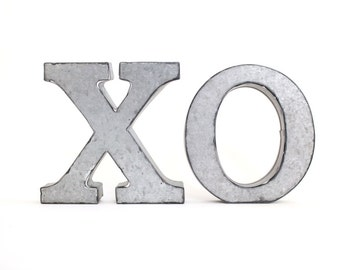 XOXO . metal letters . XO / hugs and kisses . tin letters . free standing letters . tin anniversary . small metal letters . small letters