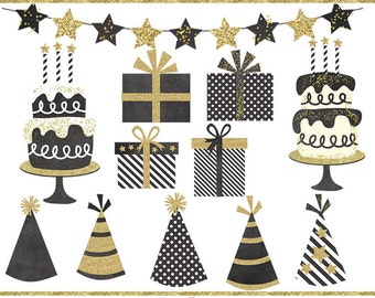 Black and gold birthday clip art images,  cake clip art,  party clip art, instant download