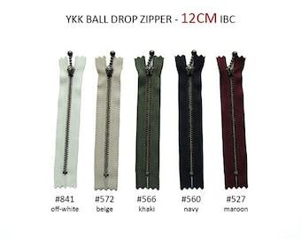 YKK Zipper - Ball Drop Metal Zipper - 12cm, 14cm, 16cm, 20cm, 25cm, 30cm ANTIQUE GOLD - for 2 Pcs