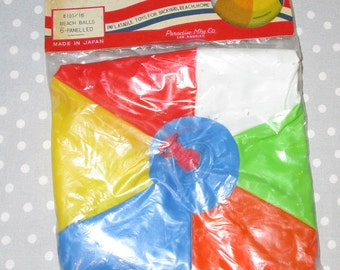 NOS Beach Ball Toy Inflatable Excellent Vintage Bright Colors Red Blue Yellow