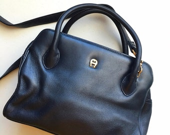 80's Vintage Etienne Aigner Navy Blue Crossbody Bag