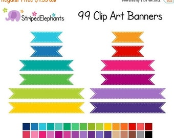 50% OFF SALE Ribbon Banner Clip Art - Digital Clipart - Instant Download - Commercial Use