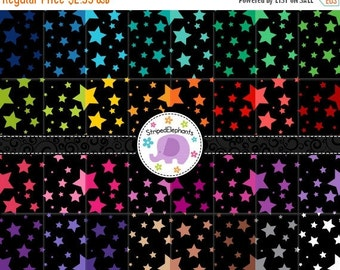 50% OFF SALE Crazy Star Digital Papers Black, Star Digital Scrapbook Paper, Star Digital Backgrounds, Instant Download, Commercial Use