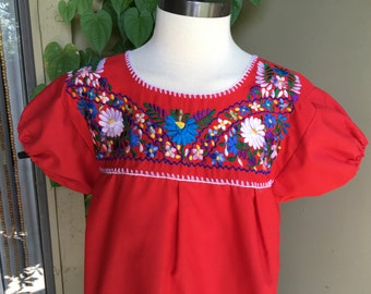 Vintage Mexican Blouse / Tunic  Red Embroidered Florals Hippie Boho
