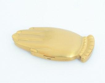 "Rare Volupte 'Golden Gesture"" Figural Compact - c 1940's - FREE SHIP"